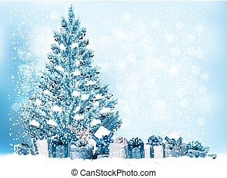 Holiday Christmas background with a gift boxes and blue tree. Vector