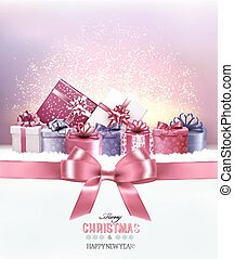 Holiday Christmas background with a gift boxes.and pink bow Vector