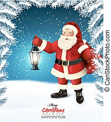 Holiday Christmas background with a Santa Claus. Vector