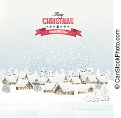 Holiday Christmas background with a village. Vector.