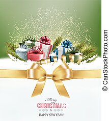Holiday Christmas background with colorful gift boxes and a gold gift ribbon. Vector