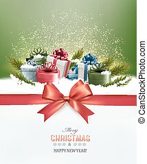 Holiday Christmas background with colorful gift boxes and a red gift ribbon. Vector
