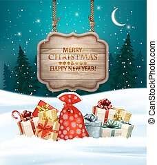 Holiday Christmas background with gift boxes and wooden sign. Vector