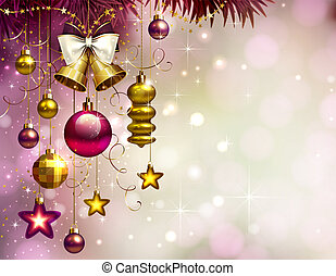 Holiday Christmas background with gold evening balls and baubles