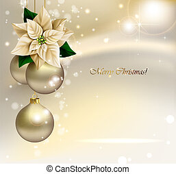 Holiday Christmas background with gold evening balls