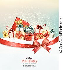 Holiday Christmas background with presents. and a gift bow. Vector