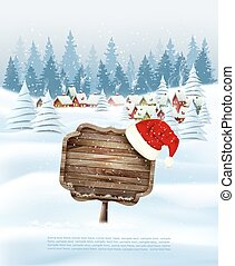Holiday Christmas background with wooden sign and winter village. Vector.