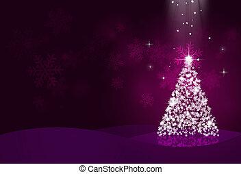 night christmas eve with snow tree on dark background