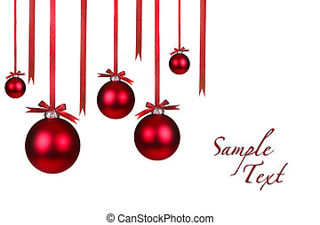 Holiday Christmas Ornaments Hanging With Bows on White...