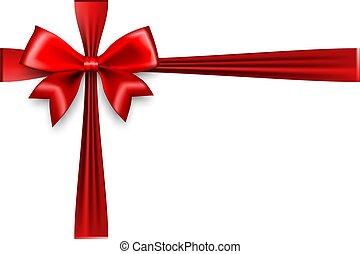 Holiday Christmas red gift silk bow. Xmas textile decor....