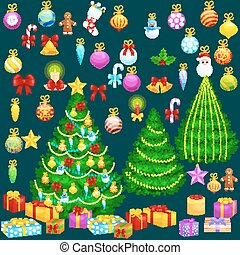 holiday christmas tree isolated decoration for celebrate xmass with ball gold bells candles stars lights candy and gingerbread men