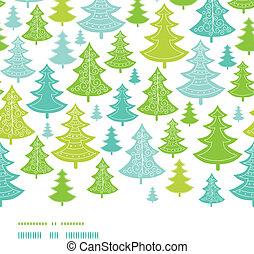 Holiday Christmas trees horizontal seamless pattern background