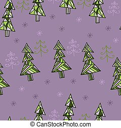Holiday Christmas trees seamless pattern