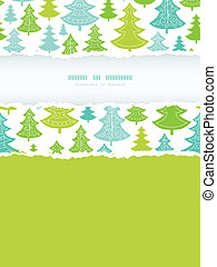 Holiday Christmas trees vertical torn frame seamless pattern background