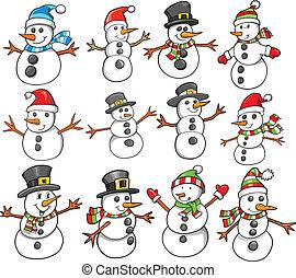 Holiday Christmas Winter Snowman Vector Set