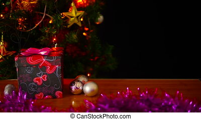 Holiday christmas with footage gift boxes and ornament...