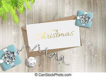 Holiday Christmas wooden background