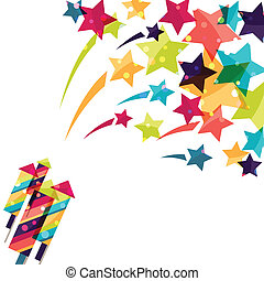 Holiday colorful background with shiny colored firework.