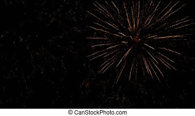 Holiday concept - colorful fireworks in dark sky at night