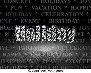 Holiday concept: Holiday in grunge dark room