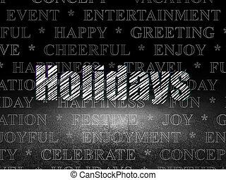 Holiday concept: Holidays in grunge dark room