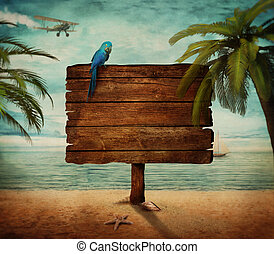 Holiday concept - Summer design - Tropical beach with wooden...