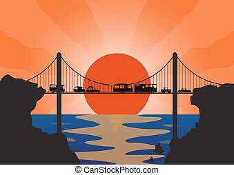 A convoy of many holiday vehicles on a suspension bridge at sunset over the ocean