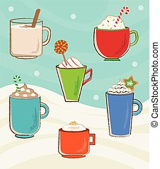 Holiday Cups - Vector set of six winter holidays mugs with...