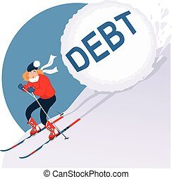 Holiday Debt - Woman running on skis from avalanche of debt,...