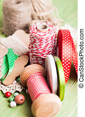 Holiday rope and ribbon decorations for craft paper gift box