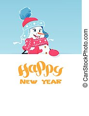 Holiday Decorartion Snowman Girl Holding Banner With Happy New Year Lettering
