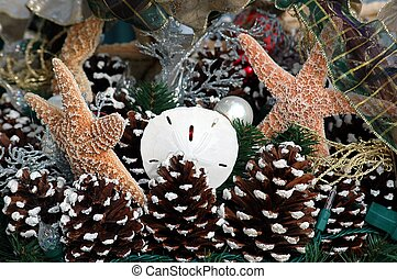 Photographed nautical Christmas decoration at a local outdoor market Florida.