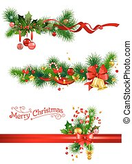 Holiday decorations with spruce tree, bells and candy cane....