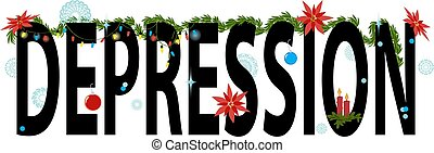 Word depression decorated for winter holidays with string lights and poinsettia,  EPS 8 vector illustration