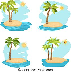 Holiday design coconut palm trees islands