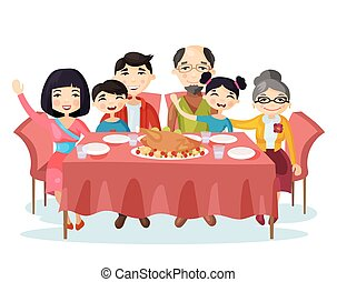 Holiday dinner with turkey of cartoon family