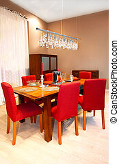 Holiday dinning room - Interior of holiday dinning room with...