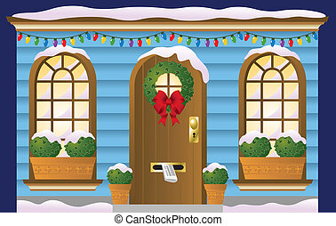 Holiday Doorway - A front door and windows decorated for the...