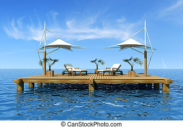 two deckchair on dock over blue sea - rendering