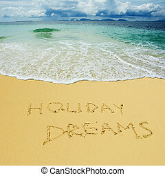 holiday dreams written in a sandy tropical beach