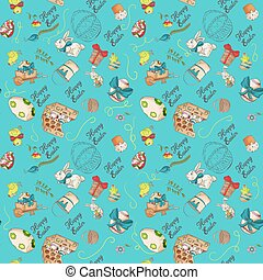 holiday Easter 1 seamless illustration pattern contour color drawing greeting inscription rabbits chickens eggs wheelbarrow cake in the style of Doodle for decoration design background isolated
