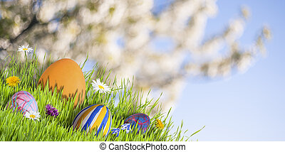 Holiday Easter Background - Holiday Easter background with...