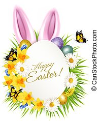 Holiday easter getting card with a colorful eggs and spring flowers in grass. Vector.