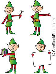 Holiday Elves - Four holiday worker elves in various poses