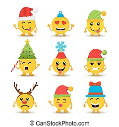 Holiday emoji icon set for christmas and new year