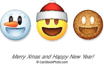 Holiday emoticon set icons, Christmas emoji symbol