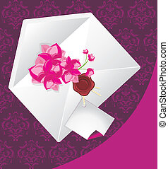 Holiday envelope with flowers