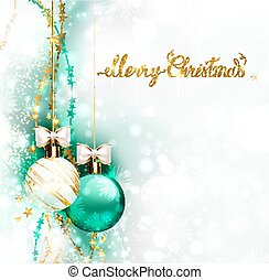 Holiday evening balls with white bows. Merry Christmas gold lettering on the shine glimmered background.