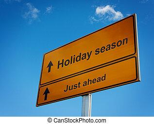 holiday fűszerezés, út cégtábla, háttér, sky.