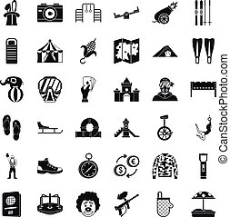 Holiday family icons set, simple style